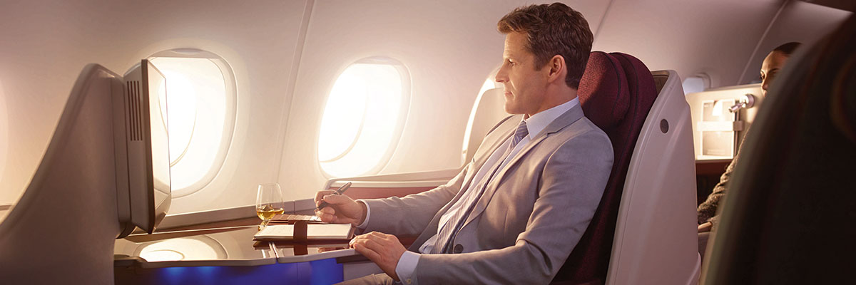 Business class flights on Qatar Airways