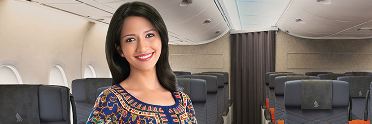 Singapore Airlines Cabin Crew in premium economy class